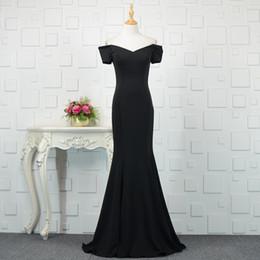 391c76e7d50a vestiti eleganti di promenade neri eleganti Sconti Abiti da sera a sirena  in raso con spalle