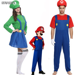 Wholesale Super Man Costume Party - Halloween party 85-180cm children adult women Cosplay super Mario Luigi costume Jumpsuit Fancy Plumber garment hat clothes