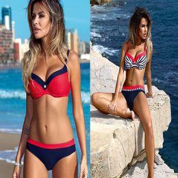 Wholesale green stripe bikini - The New 2018 Push Up Bikini Swimsuit Women Plus Size Swimwear stripe Patchwork Bikini Swimsuit Beach Swimwear Set XLL