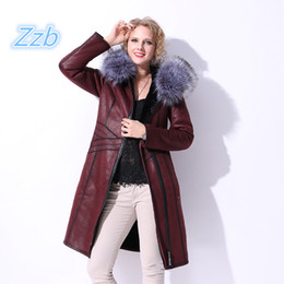 Wholesale Faux Fur Trim Jacket - Fashion Zipper Womens Faux Fur Hooded Long Coat Leather Jacket Women's leather winter Fox fur Hooded long Keep warm Overcoat