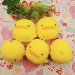 Wholesale glossy handbags - Yellow Duck Shape Squishies Cute Animal Handbag Phone Charms Squeeze Jumbo Slow Rising Squishy Easy To Carry 4 8hb B