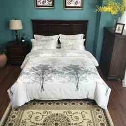 Wholesale Plant Processes - 100% Cotton Satin process Tree Print Bedding set Queen King Size Bed set 4Pcs Bed sheet linen duvet cover pillow shams