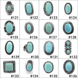 Wholesale turquoise rings for women - Dropshipping 112 styles Turquoise Rings Punk Style Green Natural Stone Rings Costume Gemstone Ring Jewelry for Women Men