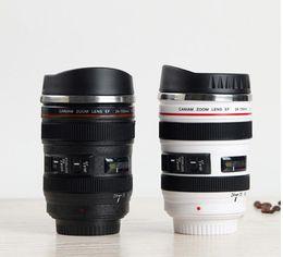 caneca da lente branca Desconto Nova 5ª geração de aço inoxidável forro de viagem café quente lente da câmera caneca 400 ML preto e branco 2 cores