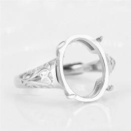 sterling silber ring einstellung oval Rabatt 925 Sterling Silber Engagement Ehering für Frauen 10x13mm Oval Cabochon Semi Mount Ring Einstellung Weißgold Farbe