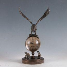 Aigle en laiton antique en Ligne-Horloge aigle mécanique classique en laiton exquise OSB02