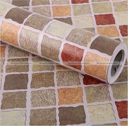 Wholesale Mosaics For Kitchens - 10M Kitchen Bathroom PVC Mosaic Design Self Adhesive Wallpaper Brick Wall Paper Waterproof Wall Stickers 48817133 SMB