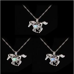 Wholesale Sweaters Wholesale Design - Fashion Luminous Glowing in the Dark Horse Necklace Unicorn Sweater Necklace New Design Charm Silver Plated Chains Necklaces CCA9482 100pcs