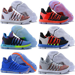 Wholesale Kevin Durant Size 12 - 2018 New Arrival KD 10 X KD10 White Chrome Pure Platinum Basketball Shoes for Kevin Durant Sports shoes Size 7-12