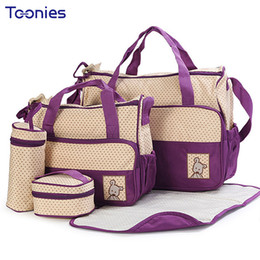 Wholesale Mom Bag Set - New High-quality 5 each   set Hand Bags Diaper Nappy Durable Bag Mummy Pack Baby Bottle Accessories Packages 8 Color Mom Packs