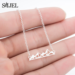 gift range Promo Codes - SMJEL Gothic Pyramids Mountain Necklace Hiking Inspired Pendant Necklaces Mountain Range Travel Camping Jewelry Geography Gifts