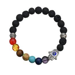 Wholesale Hamsa Hand Bracelet Gold - Hand of Fatima Hamsa Hand Yoga Head Bracelet Natural Stone Evil Eye Amulet Bracelets For Men Women Gift