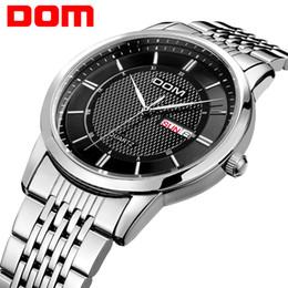 Wholesale Dom Watches - Wholesale-DOM men watch top Luxury Men Quartz Analog Clock Leather Steel Strap Watches hours Complete Calendar Relogios Masculino M-11