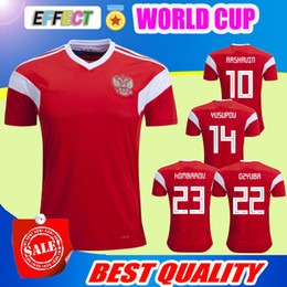 Wholesale Russia Soccer - 2018 World Cup Russia Soccer Jerseys 2018 New Men Russian Home red Football uniform Thai Quality #10 DZAGOEV #11 SMOLOV KOKORIN Shirts
