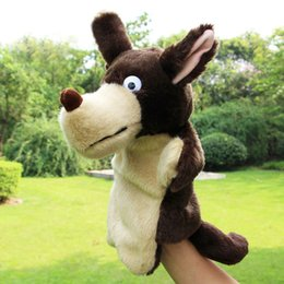 Wholesale Hand Puppet Dog Toy - New Kids Lovely Animal Plush Hand Puppets Childhood Soft Toy Wolf Shape Story Pretend Playing Dolls Gift For Children