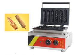 Wholesale Lolly Waffle Machine - 110V 220V Nonstick Lolly Waffle Machine 3 Hotdog Waffle + 3 French Corn Hot Dog Molds 1500W Commercial