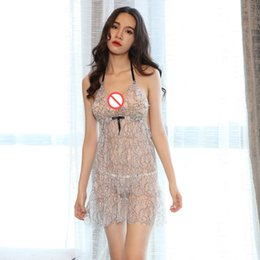 Wholesale Nightgown Women Sex - New Sexy Ladies Babydoll Lingerie Sexy Nightgown Pajamas Harness Lovely Lace Mesh Erotic Underwear Temptation Sex Dress