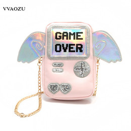 Wholesale Harajuku Messenger Bags - Harajuku Women Mini Messenger Bag 3D Game Machine Style Game Over Printing Girls PU Chain Shoulder Phone Bags with Wings
