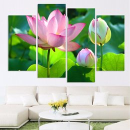 Wholesale orchid flower oil painting - Posters Canvas Art Home Decor Modern Wall Living Room Bedroom 4 Pieces Black Pebble White Orchid Flowers Modular Painting FramesPainting Mod