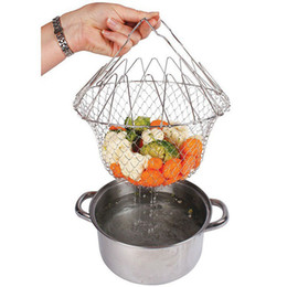 Wholesale French Fry Basket - Foldable Steam Rinse Strain Fry French Chef Basket Magic Mesh Basket Strainer Net Kitchen Cooking Tool Stainless Steel Newest