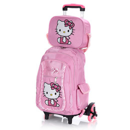 44d8a7f0ee43 Hello Kitty Children School Bags set Mochilas Kids Backpacks With Six Wheels  Trolley Luggage For Girls backpack wholesale