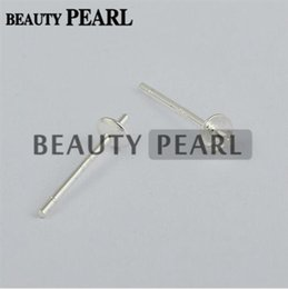 Wholesale Mounting Studs - 100 Pairs Wholesale 925 Sterling Silver Pearl DIY Stud Earring Mounting Post Pin with Cup Cap 3mm or 4mm