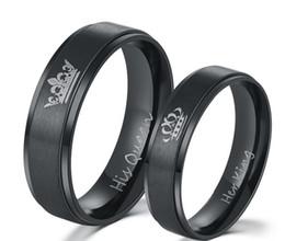 Argentina 2018 Nueva moda DIY Pareja anillos de joyería Negro chapado en color acero inoxidable 316L SU REINA y SU REY anillos de pareja para los amantes Suministro