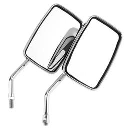 2019 miroirs universels à moteur 2pcs Universel 10mm Modifié Plaqué Universel Moto Guidon Miroir Moto Rétroviseurs Latéraux Rearview Grand Angle Miroir miroirs universels à moteur pas cher