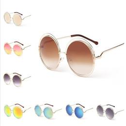 Wholesale decorative sunglasses - Hot sale 14 colors fashion large circle frame sunglasses personality lady sunglasses summer decorative sunglasses T3C0085