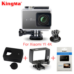Wholesale Film Camera Case - Kingma Waterproof Case+Frame+Screen Protector Film+ Silicone Case+Lens Cover For Xiaomi yi 4K Action Camera 2 II Accessories Kit