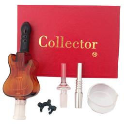 Néctar Coletor 2.0 Kit 14mm com Curvo Tigela De Vidro Prego Titânio Prego tubo De Vidro 2 pcs clipe de plástico Em Estoque de Fornecedores de colecionadores de guitarra