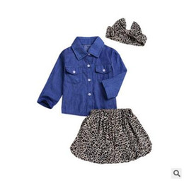 Wholesale Down Jacket Leopard - High quality baby clothing hot selling new girl fashion Denim jacket top + Leopard dress and headband 3pcs