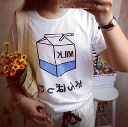 2pcs / mode créatif simple griffonnage nouvelle vague été manches courtes coquille de lait bleu imprimer T japonais petit frais style européen et américain ? partir de fabricateur