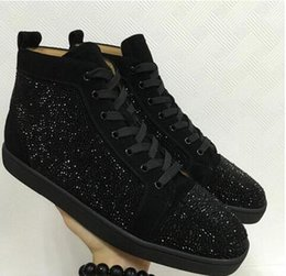 Wholesale Rhinestone Strass - Men Women's Flat Red Sole Shoes High-Top Sneaker Lace-up Casual Shoes 2018 Suede & Black Rhinestone Strass Red Bottom Shoes