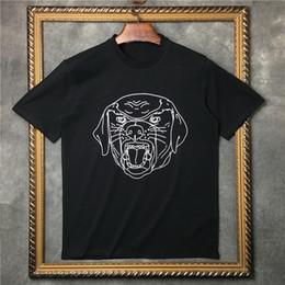 Camisetas pintadas a mano online-Camiseta de algodón de los hombres Marca Lable Summer Hand-Painted Sketch Lines Hound Male Lovers Tops Tee