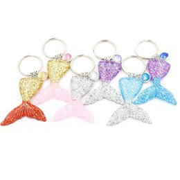 Wholesale purse bags accessories - Fashion 6 Colors Mermaid Sequins Keychain Mermaid Fishtail Scale Keyrings Bag Purse Alloy pendant key chain Accessories Jewelry