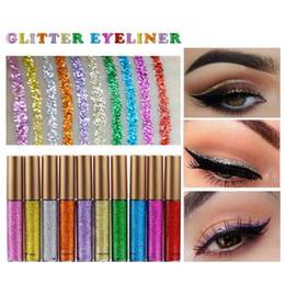 Wholesale makeup for blue green eyes - Makeup Glitter EyeLiner Shiny Long Lasting Liquid Eye Liner Shimmer eye liner Eyeshadow Pencils with 10 colors for choose