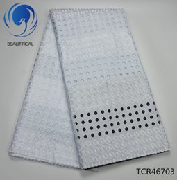 Wholesale swiss african lace fabric wholesale - BEAUTIFICAL white mesh cotton lace fabric 2018 New arrival african swiss voile lace fabric for big occasion dress 5yards TCR267