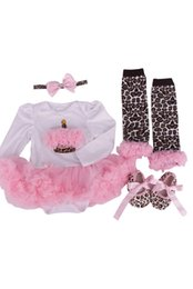 Argentina VENTA CALIENTE 4 unids / set recién nacido Pink Leopard Baby Romper con Tutu Dress + Head Band + Shoes + Leggings Baby Clothing Set-M cheap pink tutus for sale Suministro