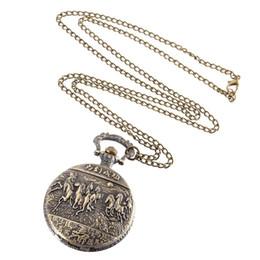 pferd taschenuhren Rabatt Vintage Taschenuhr Bronze Farbe Quarzuhr Coole Kette Running Horse Pattern Uhren LXH