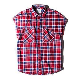 Chaquetas para hombres Camisas a cuadros Hombres sin mangas 2018spring Streetwear Cremallera lateral Flennel Hip Hop Camisas Camisas casuales para hombres Ropa desde fabricantes