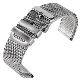 Wholesale Watchband 24mm - 20 22 24mm Silver Replacement Watchband Pin Buckle Solid Link Stainless Steel Mesh Bracelet Wrist Band Strap High Quality