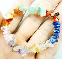 pulseiras aventurina Desconto Charme 7 Chakra Reiki Cristais de Cura Pedra Natural Chips Único Vertente Mulheres Pulseiras Lazuli aventurine Pulseiras Para As Mulheres