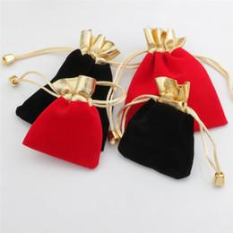 Hochzeitsgeschenkgeschenke online-Samt Perlen Kordelzug Beutel Schmuck Verpackung Weihnachtsfeier Hochzeit Werbegeschenk Geschenktüten Schwarz Rot Mini Kordelzug