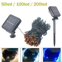 Wholesale Green Power Lamp - Christmas lights 50   100 LED 200 LED Waterproof Outdoor 8 Modes Solar Powered Strings Light Garden Christmas Party Fairy led strings lamps