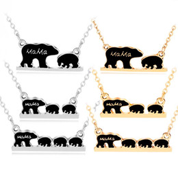 Wholesale mother child charms - Mama Bear Tag Engraved Animal Pendant Necklace Gold Silver Mother Kids Love Necklace Simple Fashion Mom Children Jewelry drop ship 162540