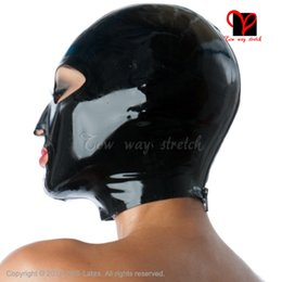 Wholesale Yellow Princess Costume - mask Sexy classic Black Latex Hood zipper back Headgear Natural Rubber open mouth eyes nose holes unisex latex mask plus size TT-020