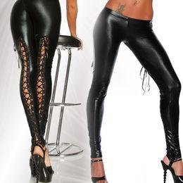 Wholesale lace up gothic pants - Punk Leggings Women Sexy Gothic Punk Wet Look PVC Like Lace Up Back Clubwear Latex Legging Pants(Size M; Color Black)