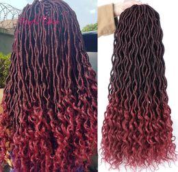 18inch Crochet Goddess Locs Extensiones de cabello sintético Faux Locs Trenzas de ganchillo rizado Ombre Kanekalon Trenzado de cabello Bohemian Locks MARLEY desde fabricantes