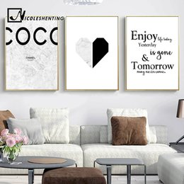 Wholesale Quote Canvas - Marble Heart Fashion Poster Motivationl Quote Wall Art Canvas Print Painting Nordic Style Simple Wall Picture Modern Home Decor
